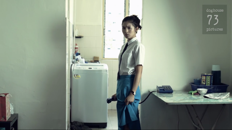 If we saw what she saw, we'd be gripping our school skirts too. A still from Floating Sun by Edmund Yeo.