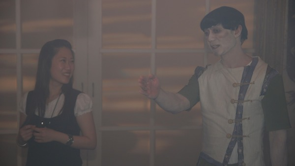 Minji on set with Vince Canlas, the actor who plays Yuri's father. Photo by Eric Darling. Used with permission.