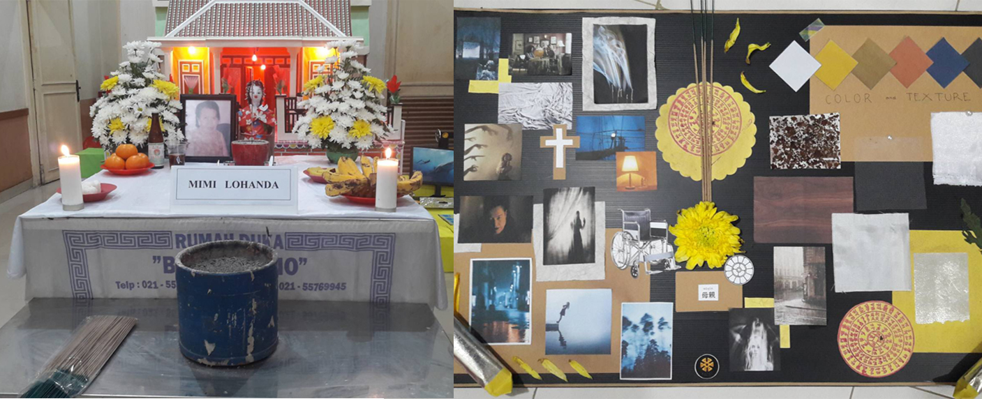 A funeral scene and moodboard for 'Mother'